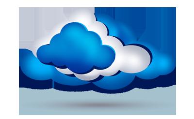 Nubes blancas y azules que simbolizan el Hosting en la nube